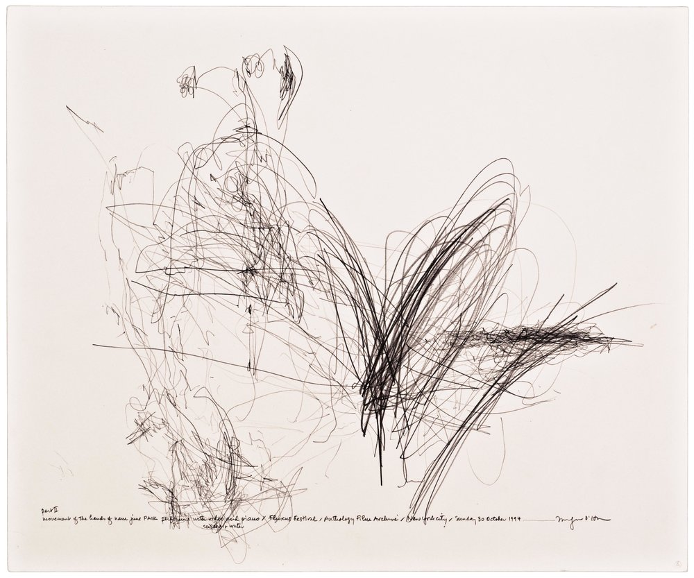 Morgan O'Hara,  LIVE TRANSMISSION: movement of the hands of NAM JUNE PAIK performing with video and piano, scissors and water, and ropes of fake pearls / Fluxus Festival / Anthology Film Archives/Sunday 30 October 1994/New York City , 14 x 17 in., Graphite on Bristol paper, 1994