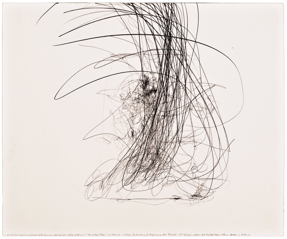 Morgan O'Hara,  LIVE TRANSMISSION: movement of the hands of SHU YANG while performing Drive Red Flag /NIPAF '02 / Nippon International Performance Art Festival / Die Pratze Hall / 27 February 2002 /Tokyo, Japan,  14 x 17 in., Graphite on Bristol paper, 2002