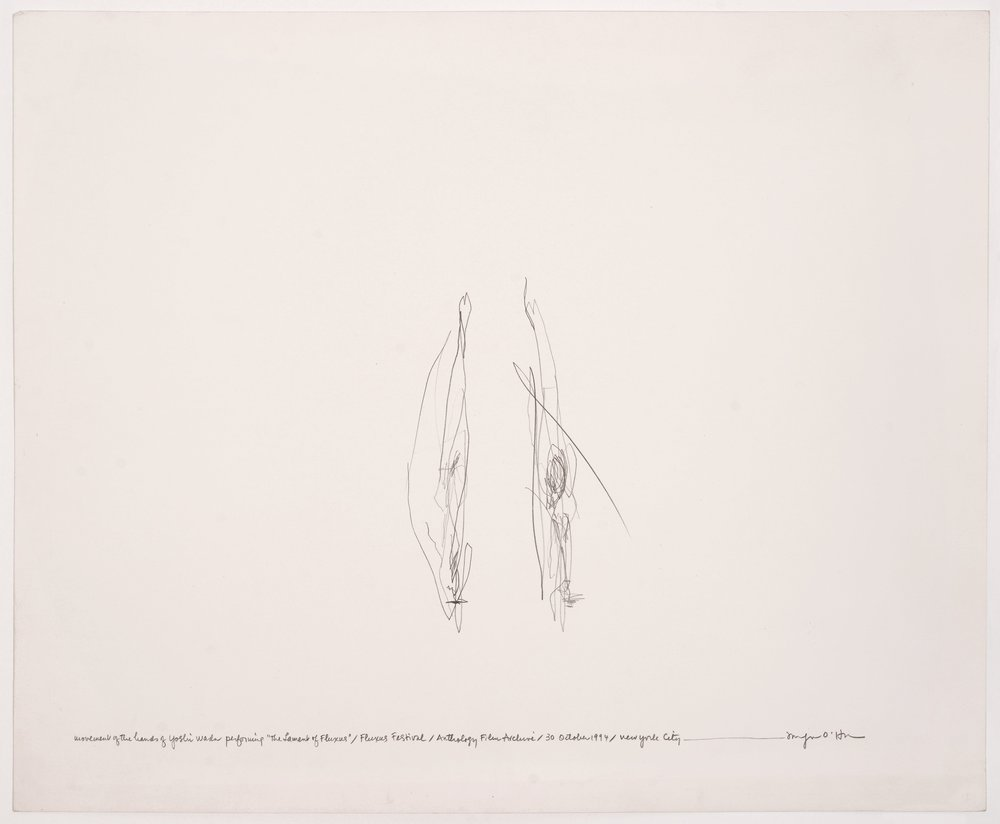 Morgan O'Hara,  LIVE TRANSMISSION: movement of the hands of YOSHI WADA while performing The Lament of Fluxus / Fluxus Festival / Anthology Film Archives / Sunday 30 October 1994 / New York City,  14 x 17 in., Graphite on Bristol paper, 1994