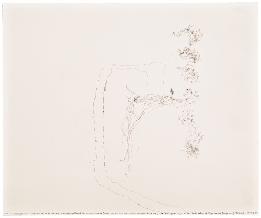 Morgan O'Hara,  LIVE TRANSMISSION: movement of water stirred by the wind / 6 bowls / followed by movement of the hands of ALISTAIR MAC LENNON toward the end of the day­long performance /8th International Performance Conference/ Frankfurt, Germany/15 May 1999 , 14 x 17 in., Graphite on Bristol paper, 1999