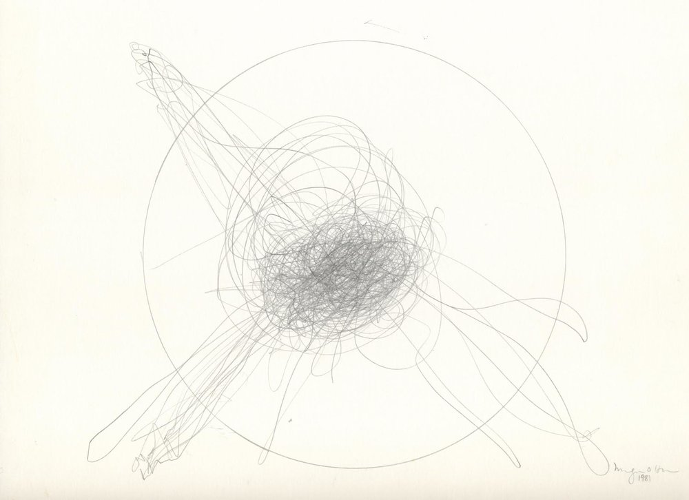 Morgan O'Hara,  LIVE TRANSMISSION: Hand movements / Chinese chef / San Francisco / 1981,  10 x 12 in., Graphite on Bristol paper, 1981