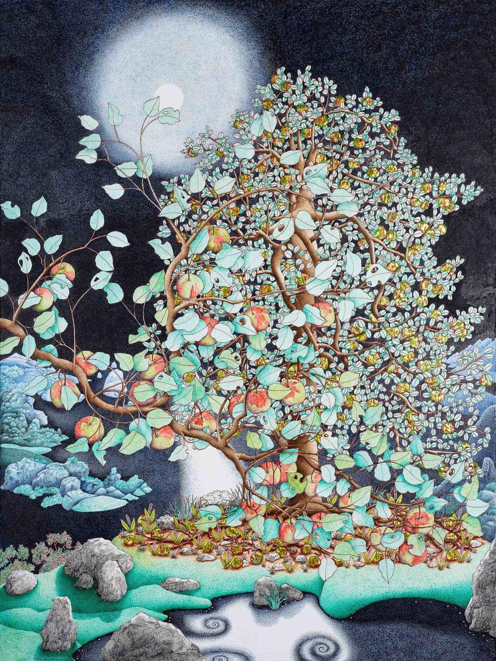 Michael Eade.  Full Moon 月圆 , Egg tempera, raised 23k gold leaf, oil on canvas, 40 x 30 in., (101.6 x 76.2 cm), 2012
