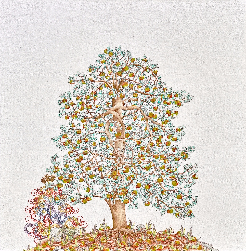 Michael Eade.  Tree of Life 生命之树,  Egg tempera, raised 23k gold leaf, raised aluminum and copper leaf, oil on canvas, 36 x 36 in.(91.44 x 91.44 cm), 2015