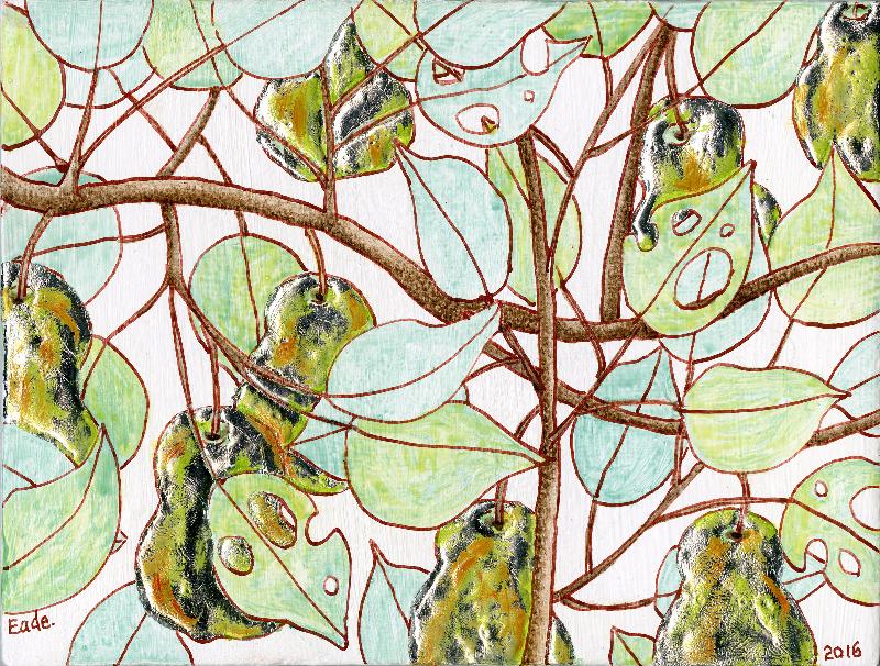 Michael Eade. Wild Pear Tree (Study), No. 20 野梨子树(小稿)20,  Egg tempera, raised aluminum leaf, oil on wood panel, 4.75 x 6.25 in. (12.065 x 15.875 cm), 2016