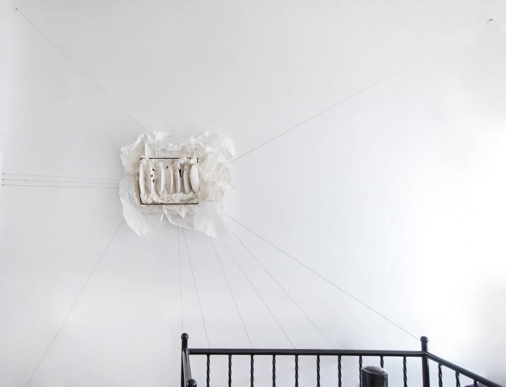 Lin Yan,  Jetlag  时差, 2017. Ink, xuan paper and cotton thread. 22 x 33 x 3 in. (57 x 83 x 8 cm) Photograph by Peichao Lin ©2017 Lin Yan, Courtesy Fou Gallery