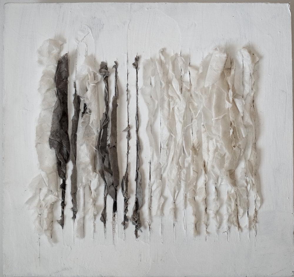 Lin Yan,  Drizzling #4  细雨4, 2017. 12 x 12 x 2 in. (30.5 x 30.5 x 4cm), Xuan paper and ink on sheetrock board ©2017 Lin Yan, courtesy Fou Gallery.