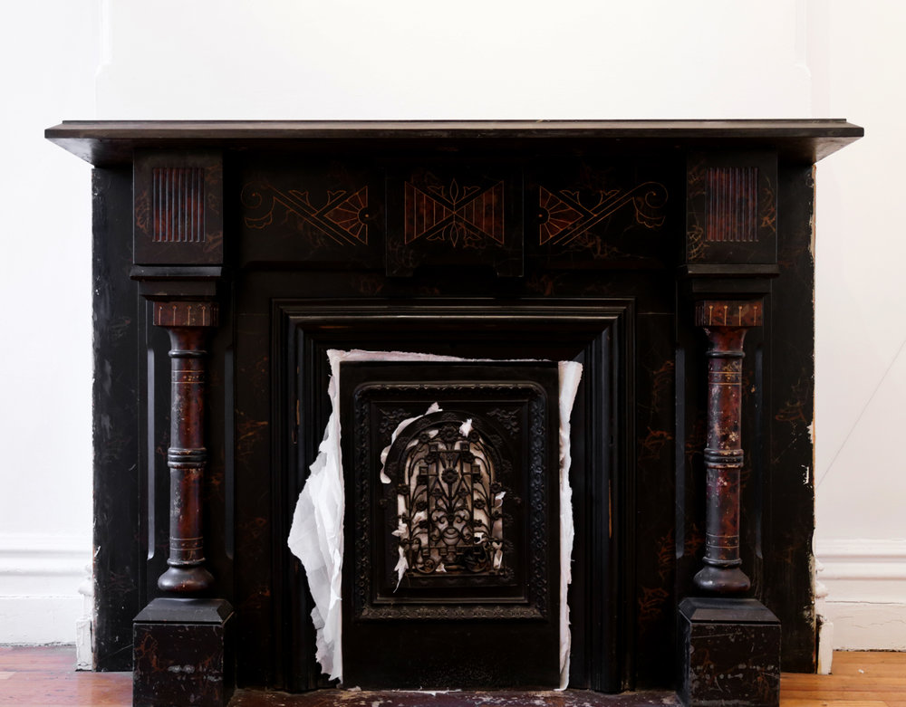 Lin Yan,  Gateway 2  门道2, 2017. Xuan paper and fireplace, site-specific installation. 61 x 45 x 15 in. (154.9 x 114.3 x 38.1 cm) ©2017 Lin Yan, Courtesy Fou Gallery