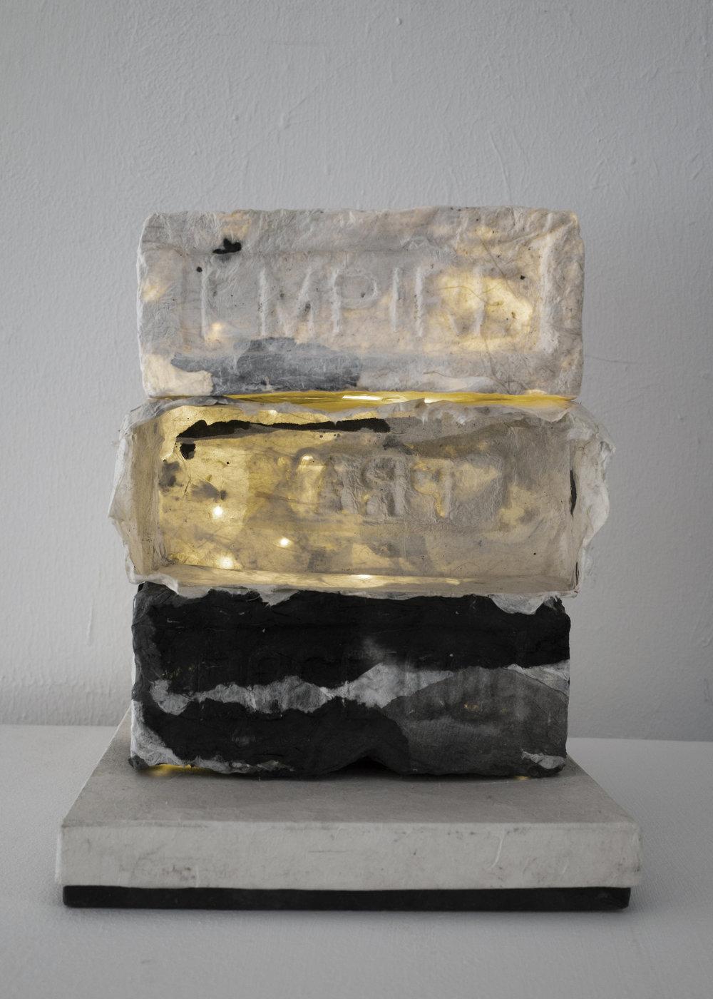Lin Yan,  Sparse Dream in Brooklyn   疏梦-布鲁克林 , 2015. Xuan paper, ink and string lights. 12 x 9 x 9 in. (30 x 23 x 23 cm) ©2017 Lin Yan, Courtesy Fou Gallery
