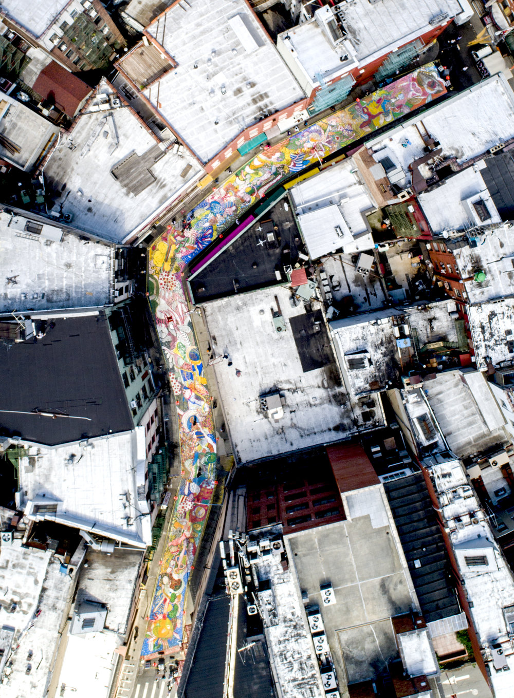 Chen Dongfan.  The Song of Dragon and Flowers,  aerial view Photograph by Nadia Peichao Lin ©Chen Dongfan, courtesy NYCDOT, Chinatown Partnership, Fou Gallery and Art Bridge