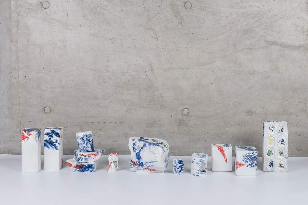 Landscapes Deconstruct I , 2018, Porcelain, fire to 1300C, gas reduction, Various dimension, 12 pieces © Renqian Yang, courtesy Fou Gallery.