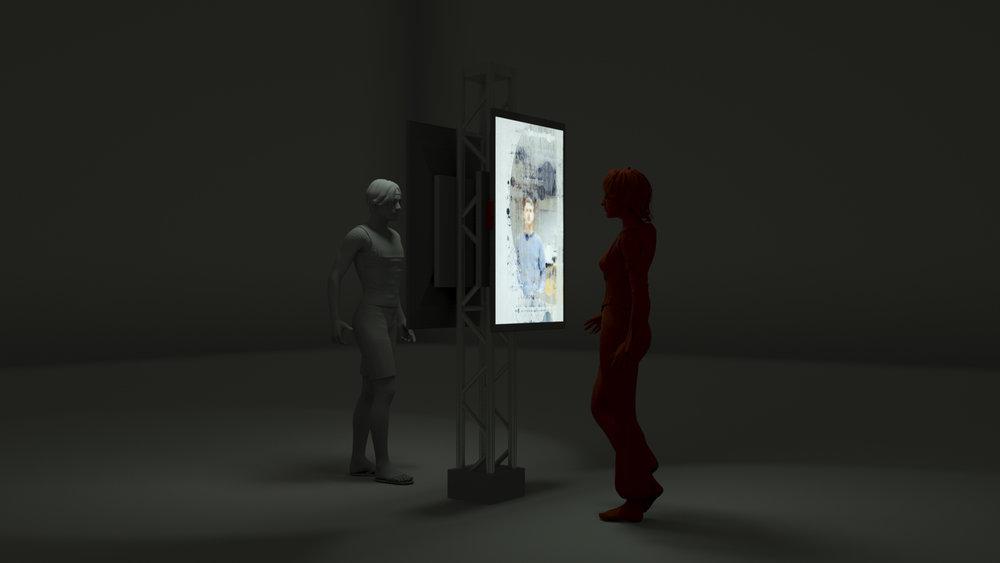 随机漫步者-如影随形, 2018,双屏幕交互影像装置,2 个屏幕, 38.8 x 22.3 x 2.3 in. 单个 (98.5 x 56.6 x 5.8 cm 单个),Edition AP of 5 + 1AP,©刘唱, 致谢否画廊