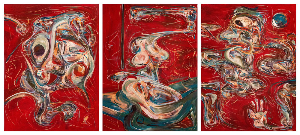 Yuan Fang,  Self-Portrait Triptych , 2018. Acrylic on canvas, 40 x 30 inches each. ©Yuan Fang, courtesy Fou Gallery | 方媛, 三联自画像, 2018. 布面丙烯,每张101.6 x 76.2 cm. ©方媛,致谢否画廊