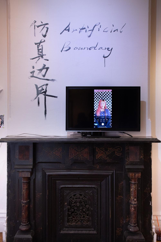"Artificial Boundary  installation view, ""Recruiting New Face""event, photograph by Dodo Xinyu Zhang ©DoDo Xinyu Zhang, courtesy Fou Gallery."