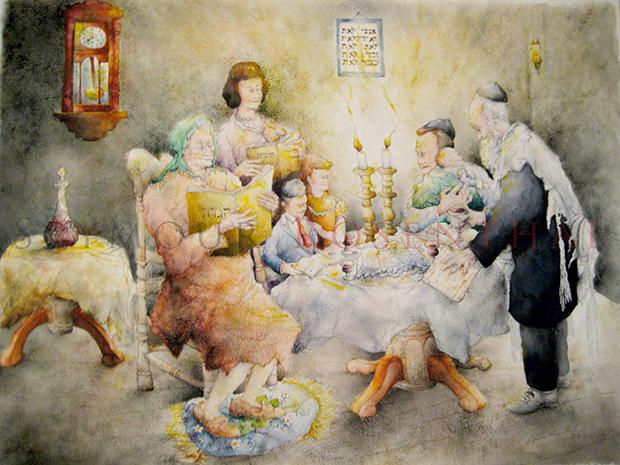 Family Celebrates Passover