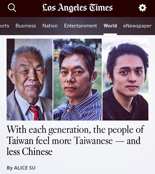 My second A1 for @latimes is about generation gap in Taiwan: I profiled three generations of one Taiwanese family, asking how their lives led them to totally different identities and senses of connection (or lack thereof) w China. This was so much fun to report because a) Taiwanese people were so open in interviews, b) it helped me understand why there's a generational gap re: identity and values in my own family, and c) now I get to hear lots of reflection and discussion from other Taiwanese and Chinese diaspora 😍  Also, I accidentally wore matching jackets w the grandfather on our interview day. Haha.  Story: https://www.latimes.com/world/asia/la-fg-taiwan-generation-gap-20190215-htmlstory.html W thanks to @anrizzy for beautiful photos!