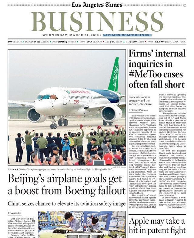 "One day after the fatal Ethiopian Airlines crash, China's civil aviation administration grounded all Boeing 737 Max 8 planes. One week after the crash, the Ethiopian ambassador to Beijing visited a state-owned plane manufacturer in Shanghai. He tweeted photos of himself in the cockpit of the Comac C919, China's state-made plane meant to compete w the Boeing 737 MAX 8 and Airbus A320neo. ""It will not be so long that we will see them in the blue sky,"" the ambassador tweeted.  I learned a ton from reporting this story for the @latimes business section, on China's place in the aviation industry and  how revelations of safety missteps w Boeing and the FAA are giving China an image boost and a leg up in the trade war. Whether Chinese-made planes have a shot at competing in the global market, however, is less certain. Read more: https://www.latimes.com/world/asia/la-fg-china-boeing-aviation-20190327-story.html  #✈️"