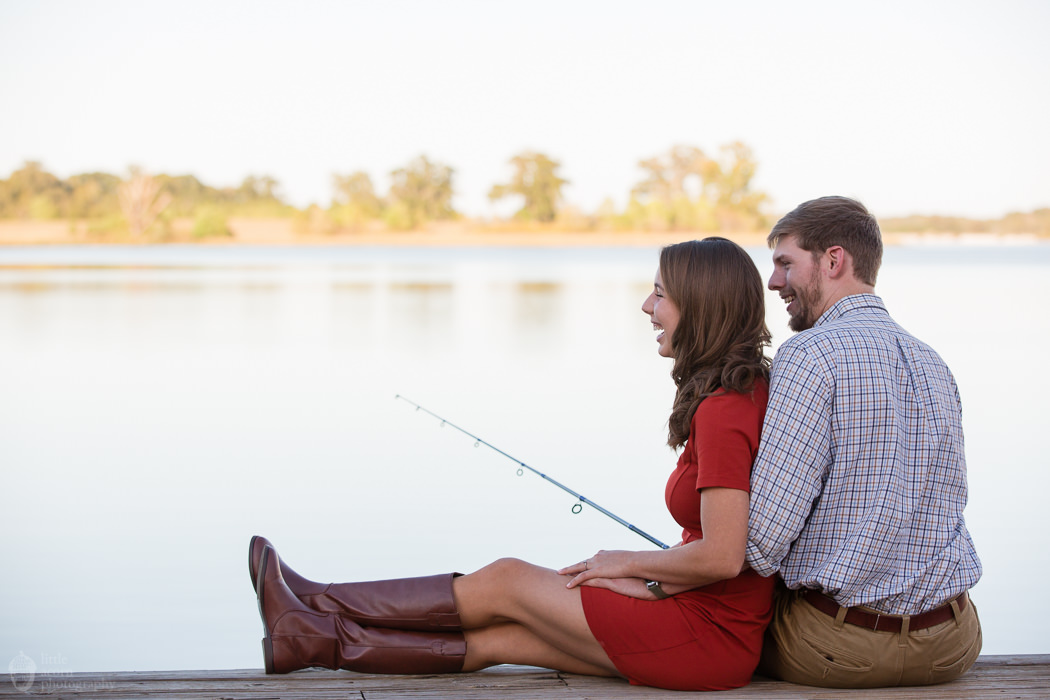 Photographs from Olivia & Wilson's engagement portrait session at The Waters and The Oaks by Alabama wedding photographers Little Acorn Photography (Luke & Jackie Lucas).
