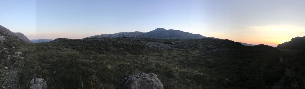 Sunset right. Moonrise left. Postman's Path panorama.