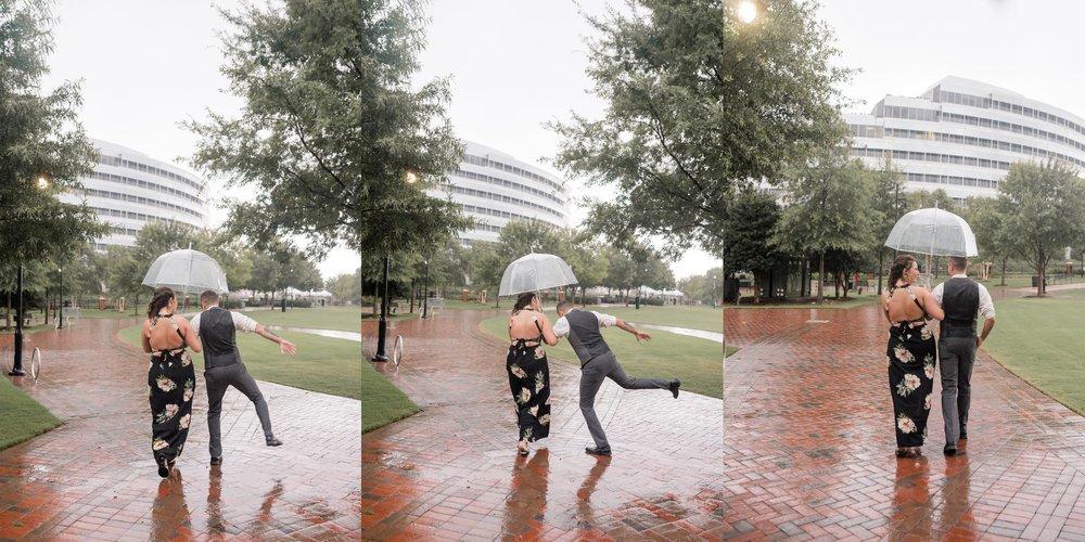 Hunter literally was dancing in the rain! LOL