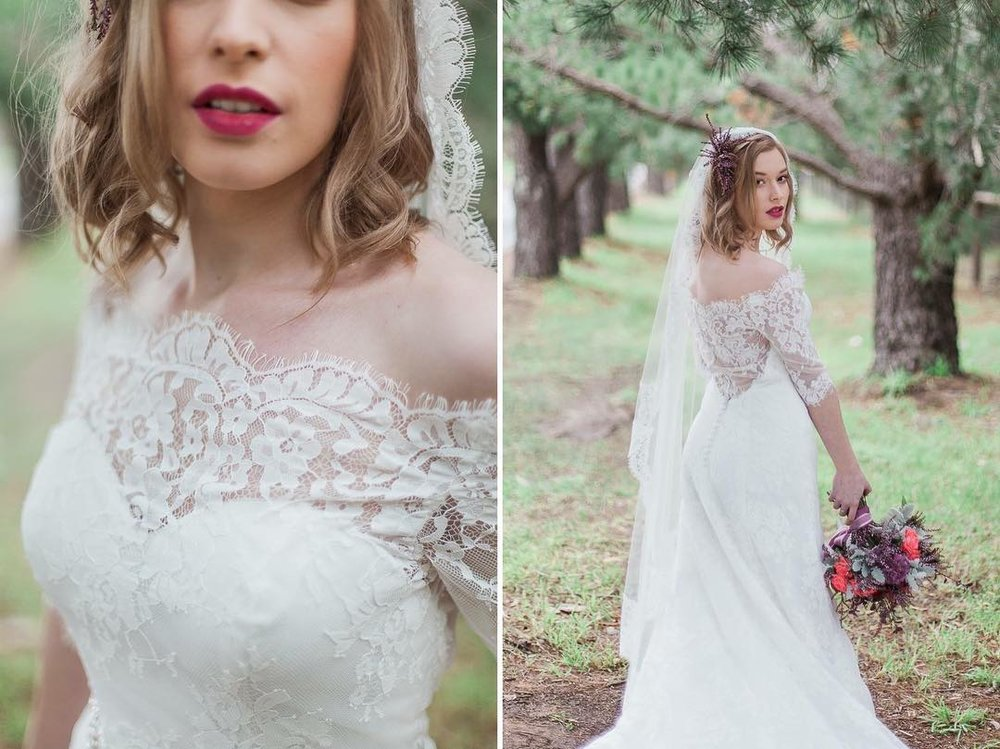Helen Constance bridal dress, Style Name: Eugenia, Available at  The Vintage Bride Boutique  Adelaide and Helen Constance Sydney Showroom. Flowers:  Bella In Bloom  Hair:  Barossa Style Bar  Makeup:  Liv Rooney Makeup Artist  Model:  Alanah Jade Gilbert