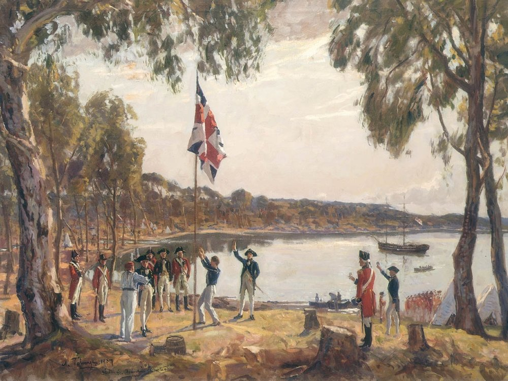 James Cook founded Australia, England's prison settlement. In 1788 Arthur Philip developed the region into farms. He built Sydney and granted land pushing out Aborigines. After four years thousands prospered establishing a colony.