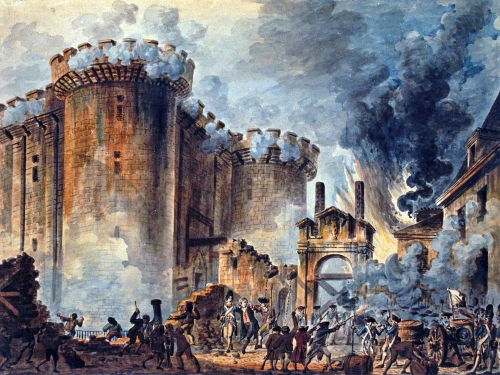 King Louis XVI called delegates to vote in 1789. The working class formed their own assembly and took an oath on the Tennis Court. Parisians stormed the Bastille to arm their revolution. With the royal family imprisoned, all titles were revoked. Robespierre executed on the guillotine 16,000 opposing the cause. Then Robespierre was beheaded and a French Republic was born.