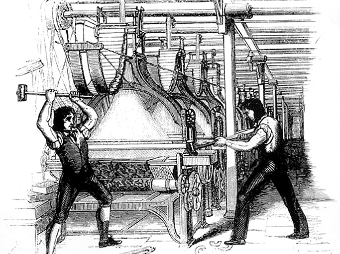 1760 to 1840 during the Industrial Revolution, factories took over family business. Men, women and children went to work. The Luddites protested with destruction, and Parliament passed Factory Acts. Slums formed outside US cities and diseases spread in fact.