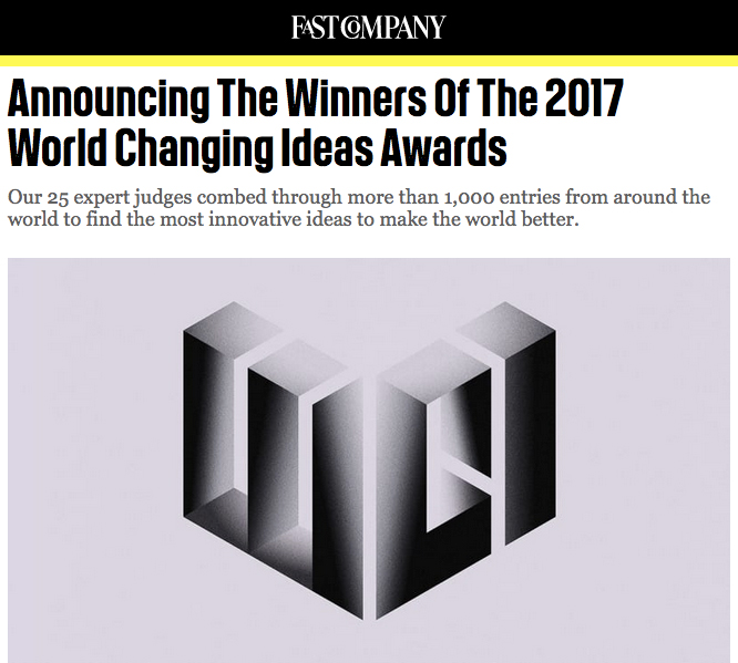 A screenshot from  Fast Company  magazine's announcement of the 2017 World Changing Ideas Awards published on their website on March 20, 2017.