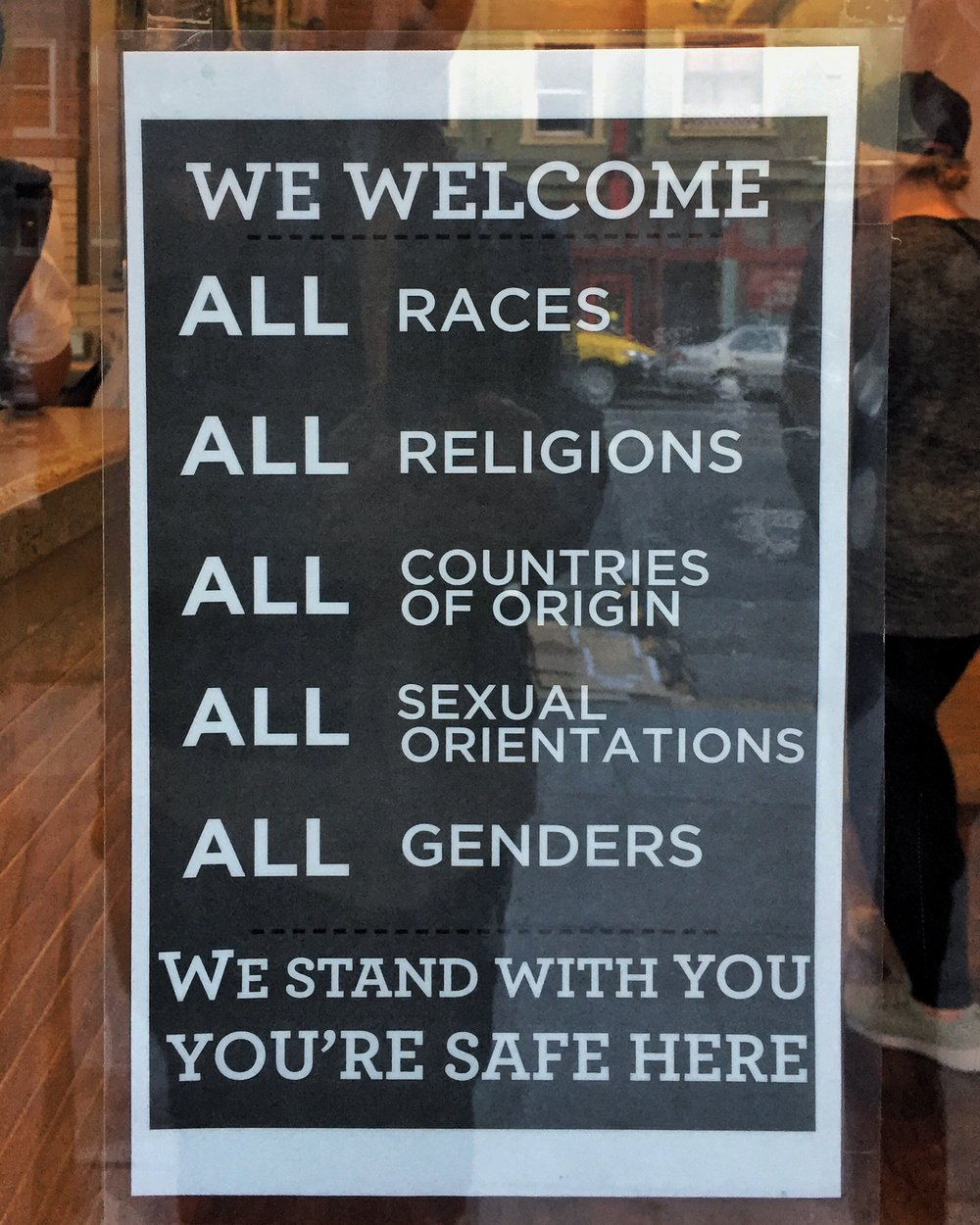 It's sad to see that people with disabilities were not included, but signs like this one we found in San Francisco are heading in the right direction.