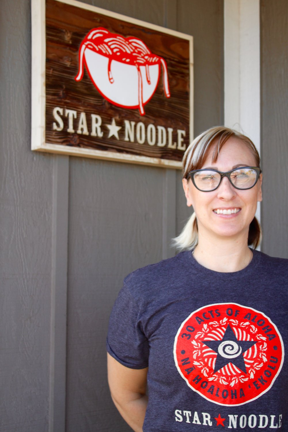 """""""30 Acts of Aloha"""" t-shirt design, modeled here by Star Noodle's Sarah B!"""