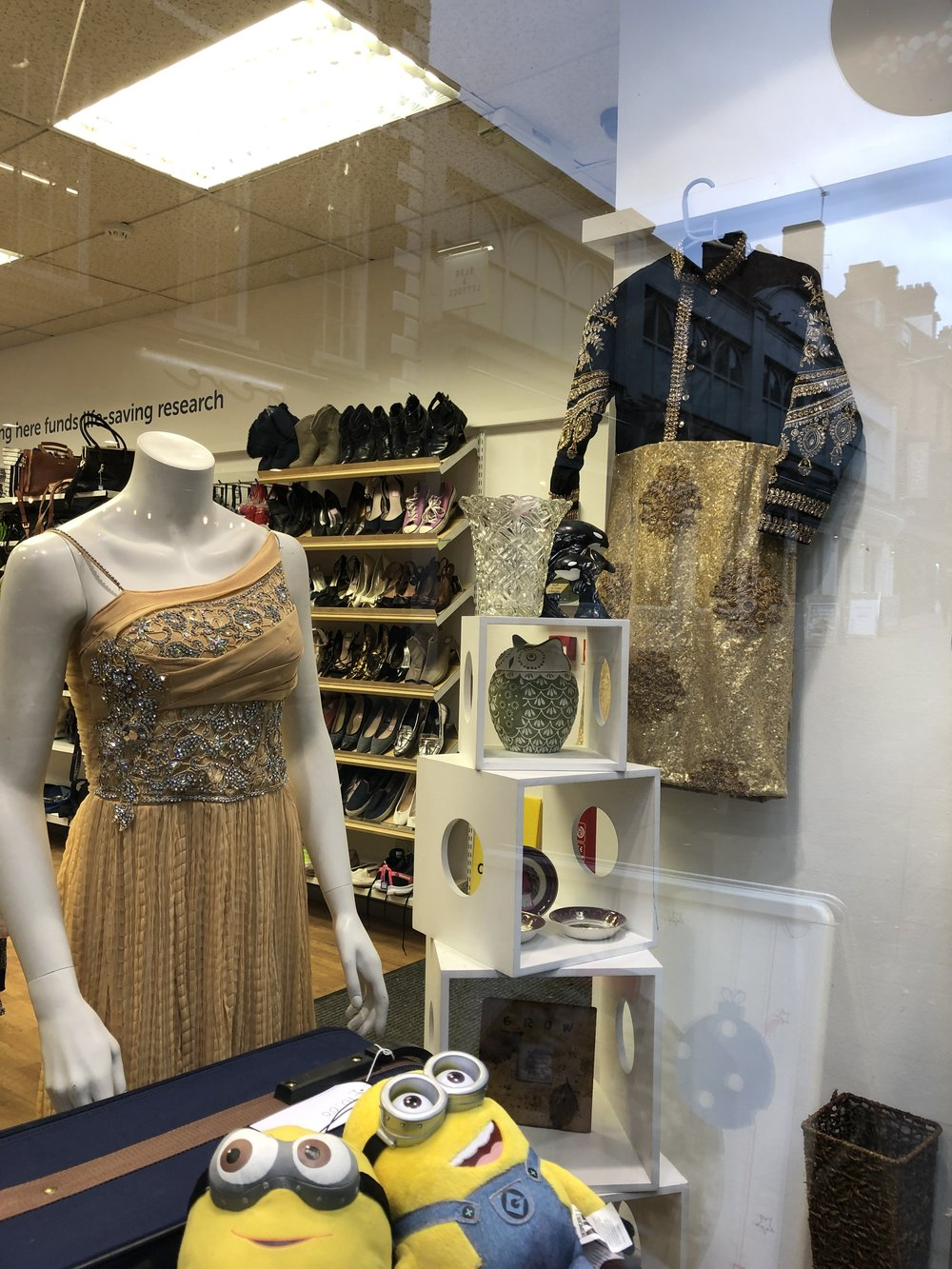 Glitz and glamour in nearby charity shops provide entertainment for serious bargain hunters