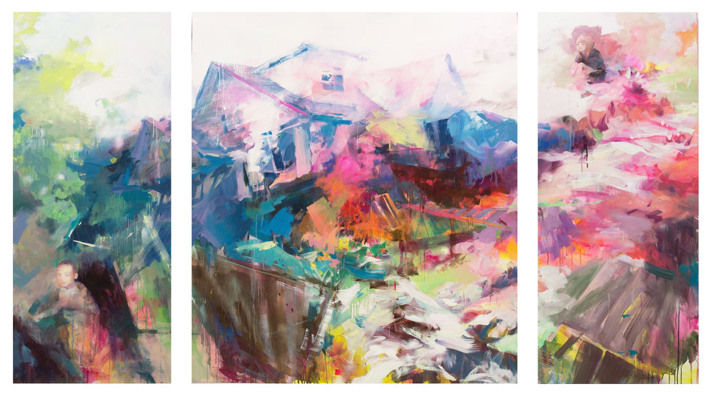 Candy House   triptych 180x75  180x180  180x75  2015 oil on canvas.jpg