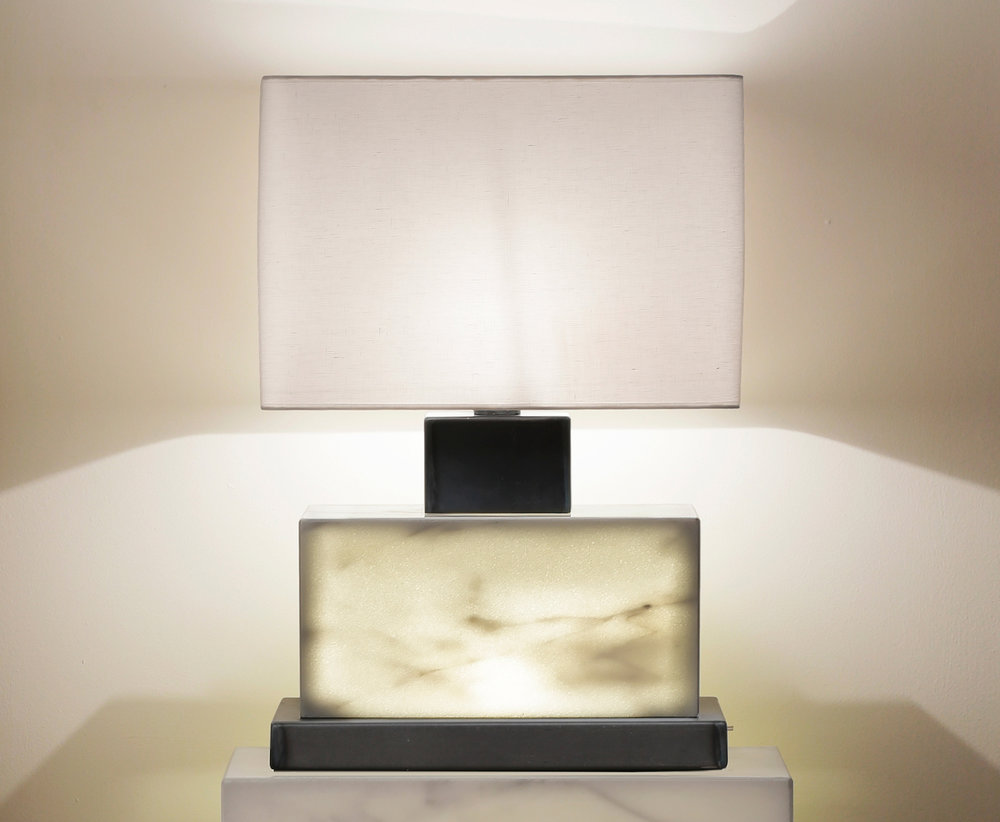Handmade illuminated Carrera rectangle lamp w/ black oxidized metal parts.