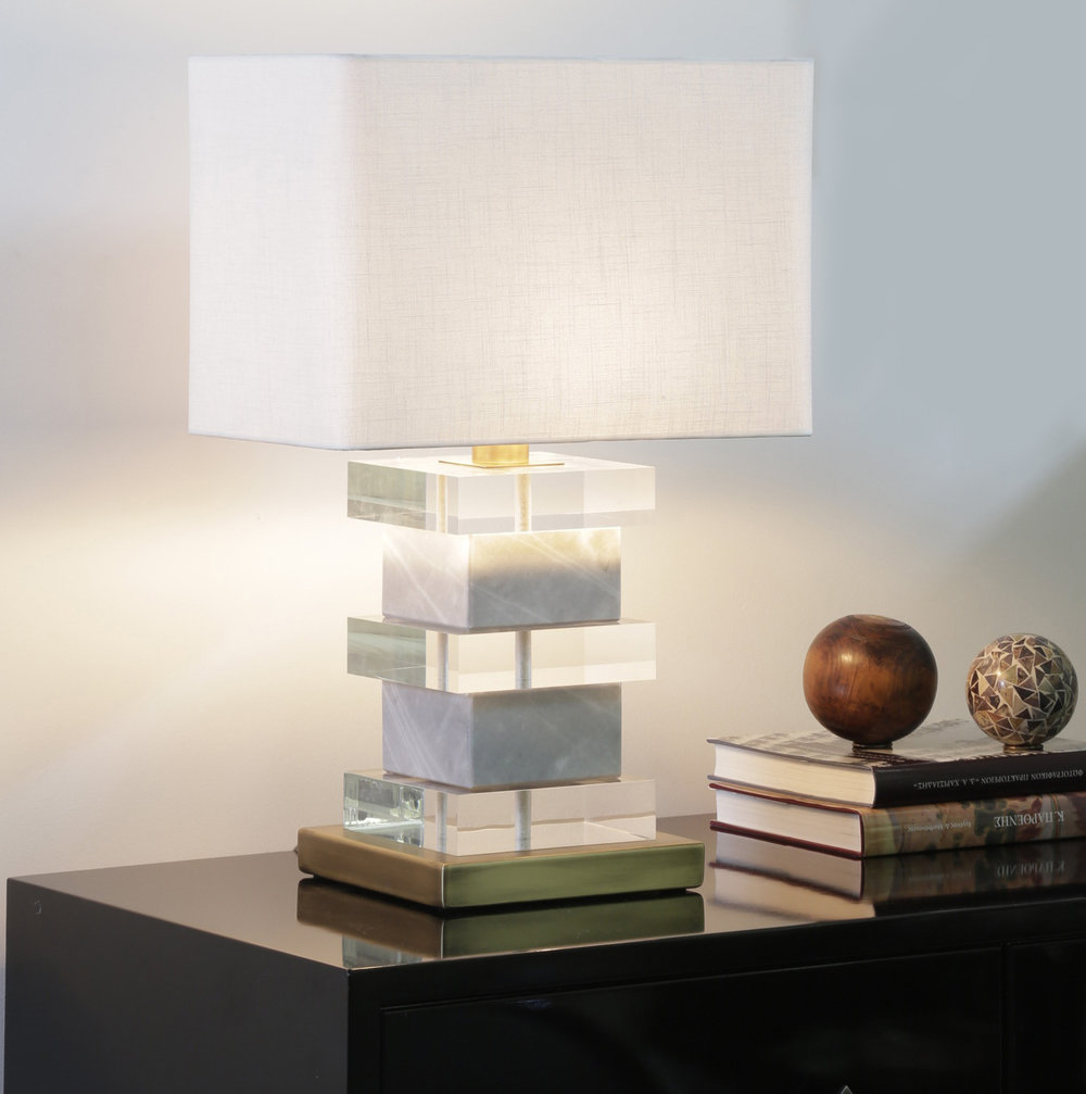 Luxury blocked plexiglass & marble handmade lamp with bronze details