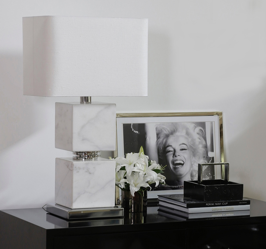 Double block marble lamp joined with our luxury handmade polished nickel rings.