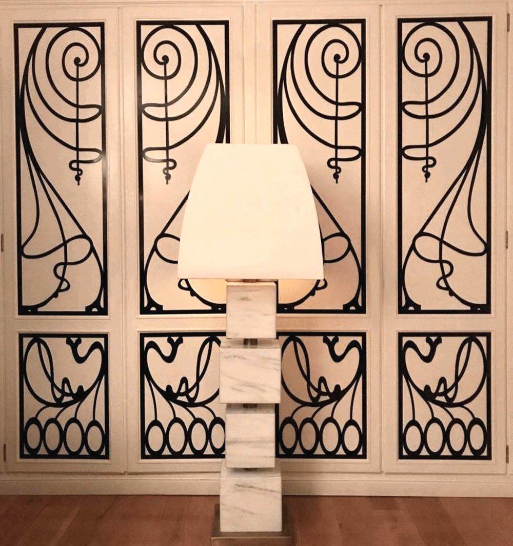 Handmade marble block floor lamp w/ polished nickel center parts.