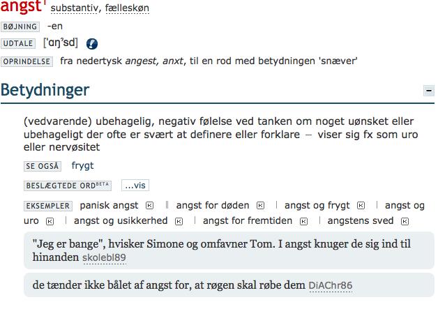 fra  Ordbog over det danske sprog