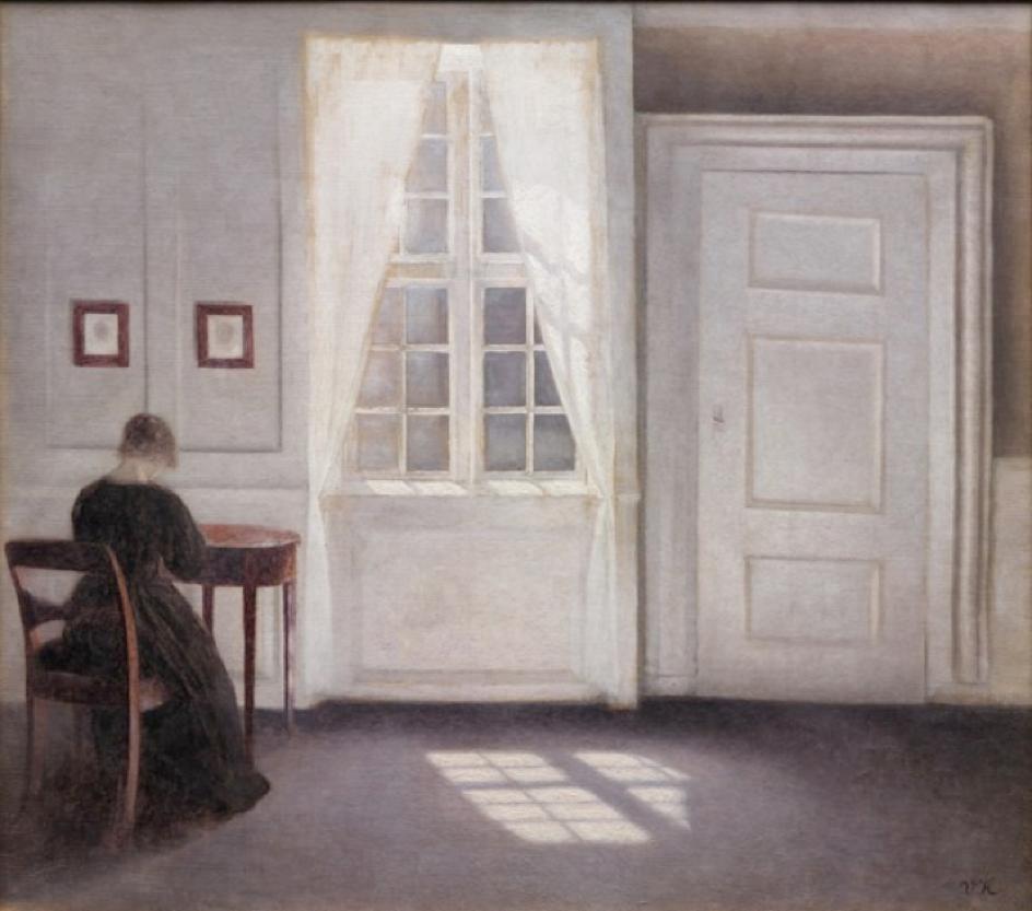 Vilhelm Hammershøi,  Stue i Strandgade med solskin på gulvet , 1901