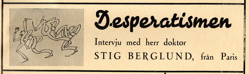 """Detalj på det särskilda försättsbladet till Grönköpings Veckoblad nr 2 1951 – reklam för Gunnar Ekelöfs anonyma bidrag """"Desperatismen"""". Teckningen är utförd av konstnären Arvid Arvé (1894–1968)."""