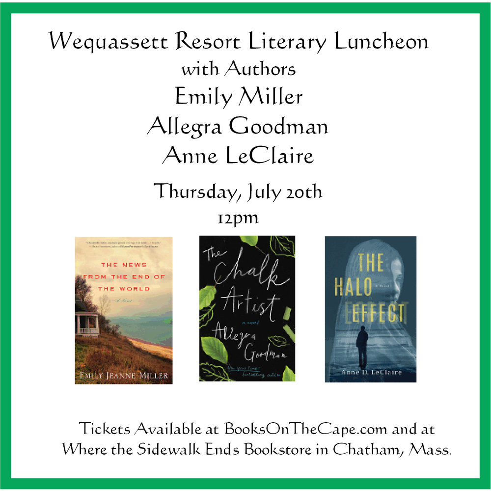 The July 20th Literary Luncheon with Authors Emily Jeanne Miller, Allegra Goodman, and Anne LeClaire will be held on the Garden Terrace.