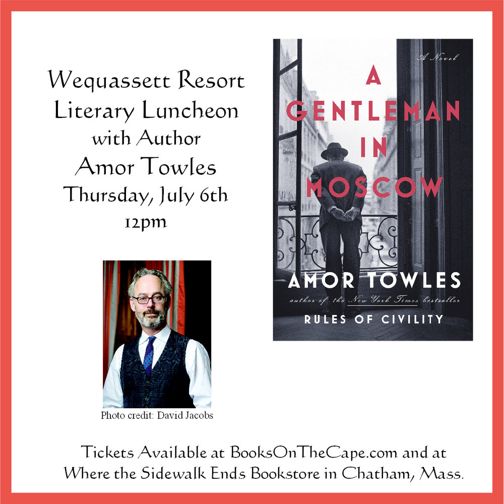 Tickets for the Amor Towles event on July 6th are currently Sold Out. We would be happy to add your name to a waiting list.