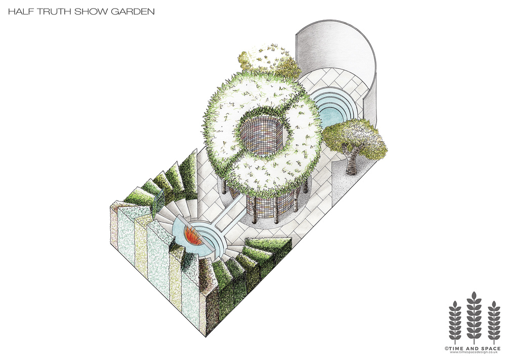 Half-truth show garden axonometric drawing