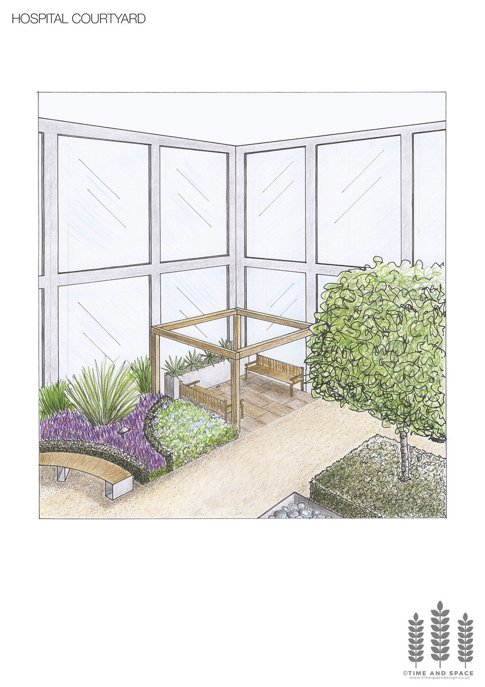 Hospital courtyard perspective drawing