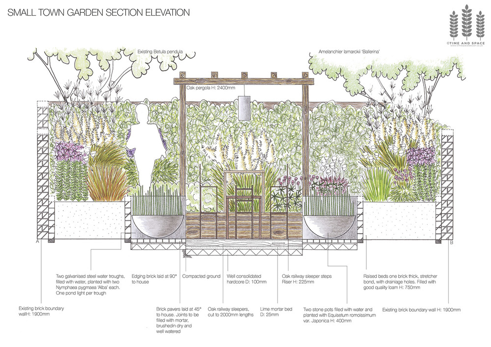 Small town garden section elevation