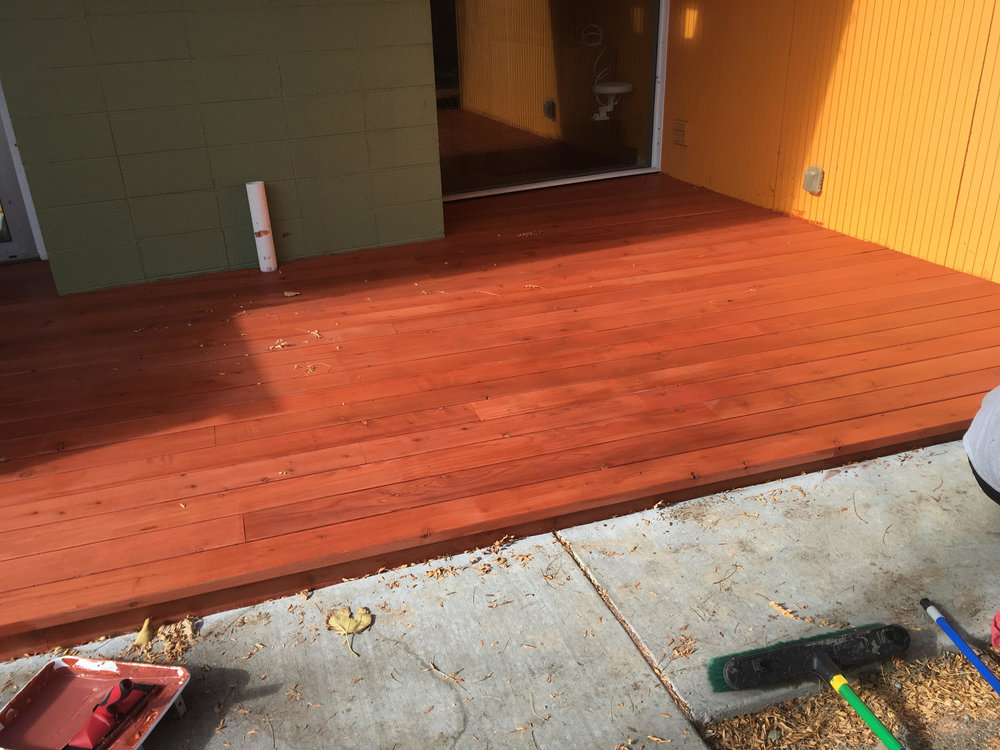 Freshly stained redwood deck looking good!