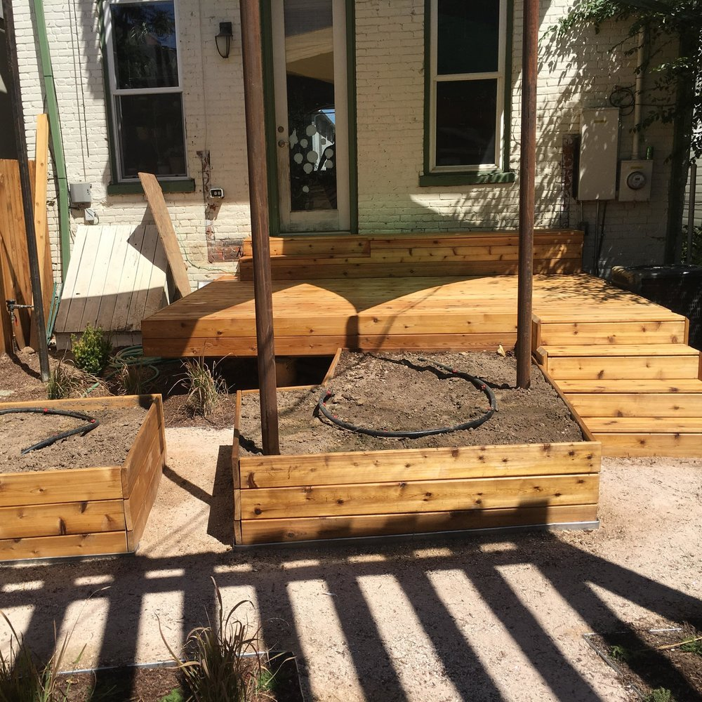 Deck and garden during construction.