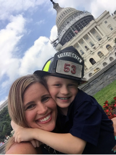 """Laura McLinn and her son Jordan during a """"Right To Try"""" rally at the Capitol in D.C. on June 16. Jordan has Duchenne muscular dystrophy. The rally advocated easier access to experimental drugs that have not been fully approved by the Food and Drug Administration. (Family photo)"""