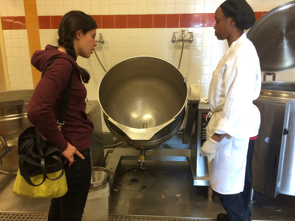 Sonia interviews a prep cook about her work flow