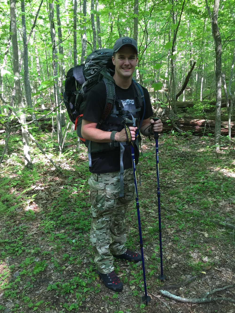 Zack on a backpacking trip in the Appalachians