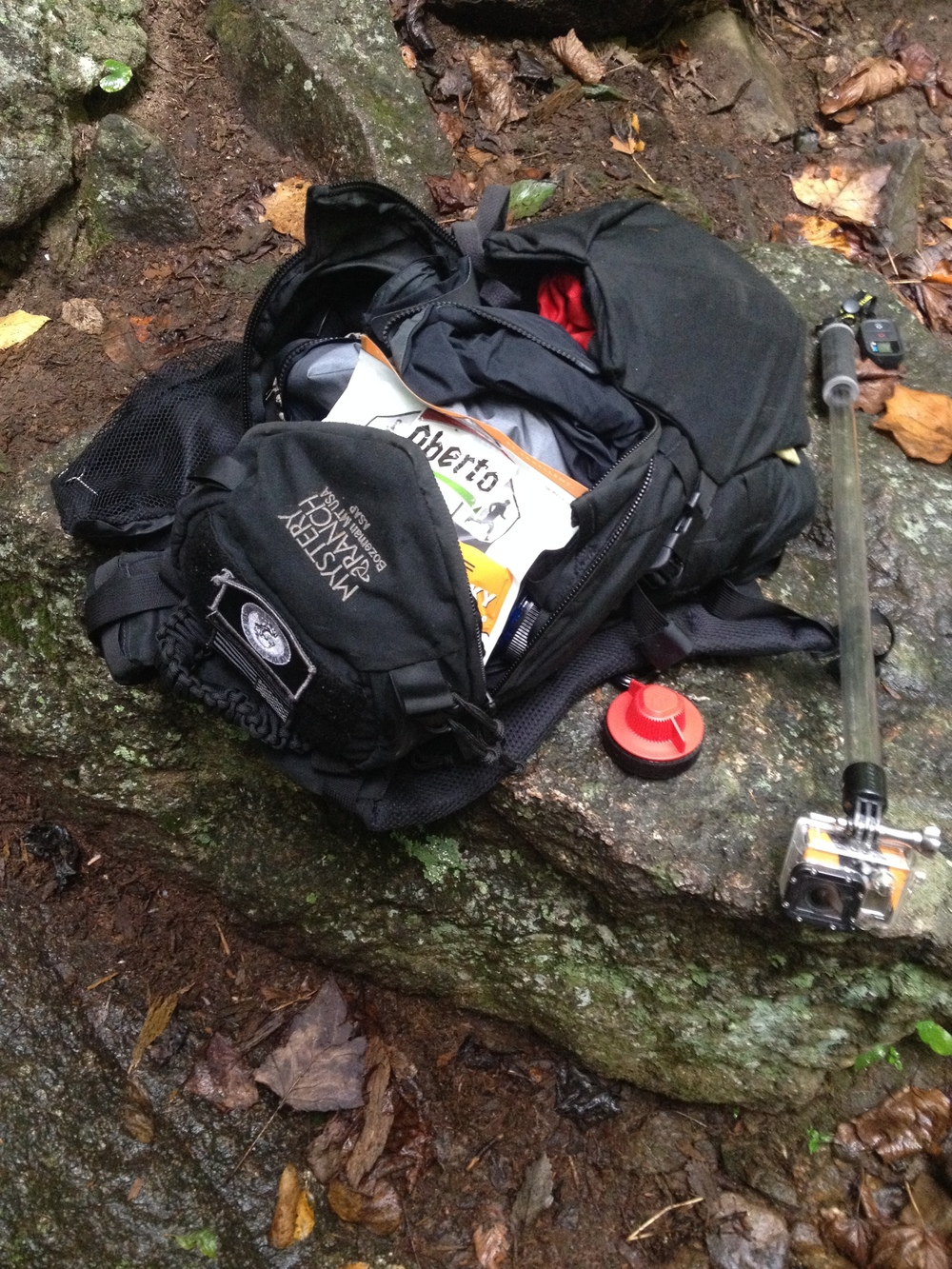 I use a Mystery Ranch ASAP for my day pack. Notice the red Sweetwater to Nalgene attachment.